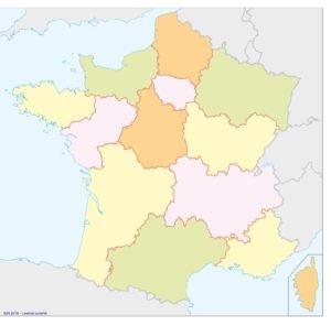 Carte – les régions de la France Métropolitaine